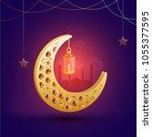 3d golden moon  lantern  stars...   Shutterstock .eps vector #1055377595