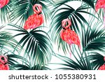 tropical seamless vector floral ... | Shutterstock .eps vector #1055380931