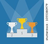 winner podium with trophy cups. ... | Shutterstock .eps vector #1055380979