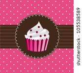 Cup Cake Over Pink Card. Vecto...