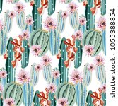 cute pattern with cactuses and... | Shutterstock .eps vector #1055388854