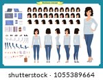 young woman  casual clothes.... | Shutterstock .eps vector #1055389664