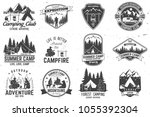 set of summer camp badges.... | Shutterstock .eps vector #1055392304