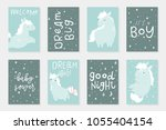 cute little horses. 8 postcard... | Shutterstock .eps vector #1055404154