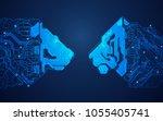 futuristic digital lion versus... | Shutterstock .eps vector #1055405741