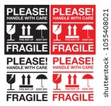 fragile please handle with care ... | Shutterstock .eps vector #1055408021