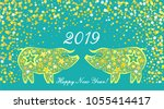 2019 happy new year greeting... | Shutterstock .eps vector #1055414417
