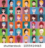 set of people icons with faces | Shutterstock .eps vector #1055414465