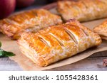puff pastry apple pastry...   Shutterstock . vector #1055428361