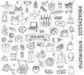 hand drawn doodle set of online ... | Shutterstock .eps vector #1055429084