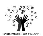 hand releasing into the sky of... | Shutterstock .eps vector #1055430044