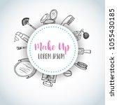 make up hand drawn background.... | Shutterstock .eps vector #1055430185