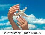 marine nail design.long french... | Shutterstock . vector #1055430809