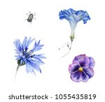 Watercolor Set Of Blue Garden...