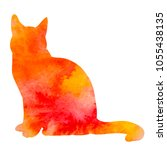 watercolor cat silhouette icon | Shutterstock .eps vector #1055438135