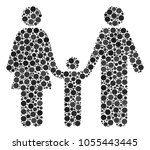 family child collage of filled... | Shutterstock .eps vector #1055443445