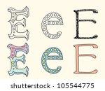 doodle hand drawn alphabet in... | Shutterstock .eps vector #105544775