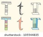 doodle hand drawn alphabet in... | Shutterstock .eps vector #105544835