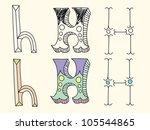 doodle hand drawn alphabet in... | Shutterstock .eps vector #105544865