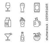 drinks doodle set. hand drawn... | Shutterstock .eps vector #1055451605