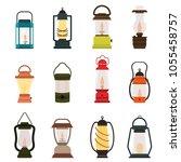 camping lantern oil lamp vector ... | Shutterstock .eps vector #1055458757