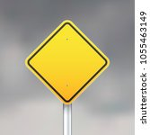 yellow road sign on gray sky... | Shutterstock .eps vector #1055463149