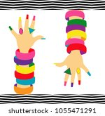 woman hand with rings  bracelet ...   Shutterstock .eps vector #1055471291