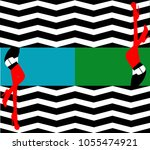 sexy woman legs with zigzag...   Shutterstock .eps vector #1055474921