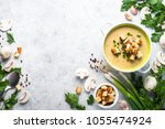 mushroom soup puree with... | Shutterstock . vector #1055474924