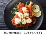 south american food  milanesa... | Shutterstock . vector #1055477651