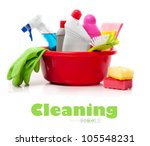 full box of cleaning supplies... | Shutterstock . vector #105548231