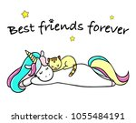 Stock vector hand drawn illustration of a magic unicorn and cat best friends forever vector isolated 1055484191