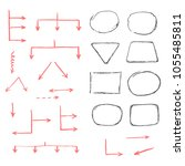 set of hand drawn different... | Shutterstock .eps vector #1055485811