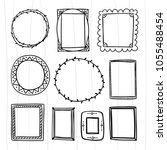 hand drawn frame and wreath set.... | Shutterstock .eps vector #1055488454