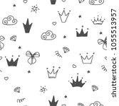 hand drawn seamless pattern... | Shutterstock .eps vector #1055513957