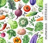 hand drawn raw food... | Shutterstock . vector #1055516111
