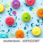 amazing colorful cupcake | Shutterstock . vector #1055522387