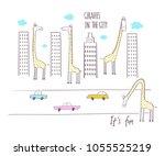 giraffes in the city. vector...   Shutterstock .eps vector #1055525219