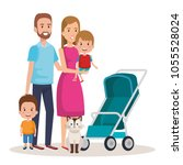 cute family happy and pet... | Shutterstock .eps vector #1055528024