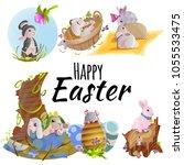 set of easter chocolate egg... | Shutterstock . vector #1055533475