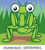 mantis cartoon  cute cartoon | Shutterstock .eps vector #1055549831