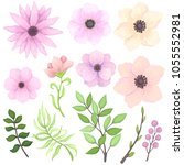 vector set of pink and yellow... | Shutterstock .eps vector #1055552981