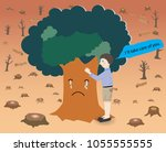 concept of deforestation a big... | Shutterstock .eps vector #1055555555