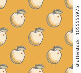quirky apple seamless pattern.... | Shutterstock .eps vector #1055555975
