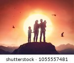 happy family at sunset. father  ... | Shutterstock . vector #1055557481