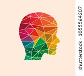 low poly human head on the... | Shutterstock .eps vector #1055564207