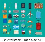 big travel set. summer holiday  ... | Shutterstock .eps vector #1055565464