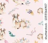 Stock photo cute family baby raccon deer and bunny animal nursery giraffe and bear isolated illustration 1055566907