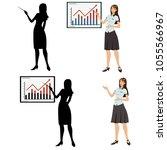 woman showing presentation. set ... | Shutterstock .eps vector #1055566967