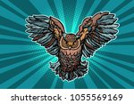 beautiful realistic owl in... | Shutterstock .eps vector #1055569169